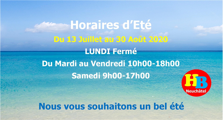 Horaires d'été du 13 juillet au 30 Août 2020